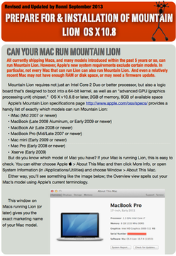 Prepare For & Installation of Mountain Lion OS X 10.8